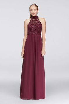 a21004eaa0a The high-neck illusion lace bodice of this chiffon gown has a stylish  surprise  ladder-like detailing that spans the open back. By Speechless  Polyester Back ...
