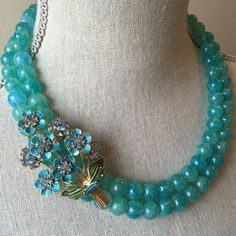 Aqua beaded necklace with vintage floral by LulusPetalsJewelry