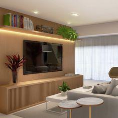 Marcenaria bastante presente transformando o astral da sala. 3D x ANTES - Projeto | AF . . #estudiomult…
