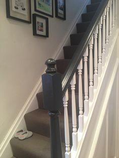 Painted bannister in hallway, farrow & ball railings # decor Painted Banister, Painted Staircases, Grey Hallway, Hallway Paint, 1930s Hallway, Entry Hallway, Entrance Hall, Foyer, Entryway