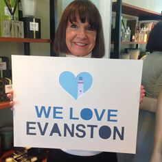 Deanne is holding our new #WeLoveEvanston sign my dad made for We Love Evanston Day on Saturday March 7th! Come in on March 7th and take a photo with the sign in our photo booth. #Evanston #shoplocal #centralstreet