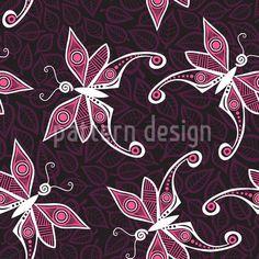 Butterflies On Leaves Repeat Pattern