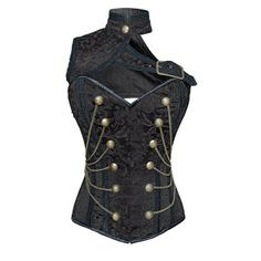ND-201 - Black brocade military inspired corset