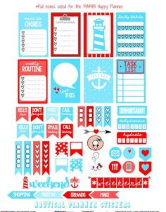 Free Nautical Planner Stickers | Vintage Glam Studio