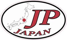 5in x 3in Oval JP Japan Sticker Vinyl Travel Luggage Decal Car Stickers