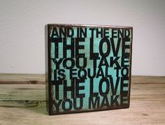 The Beatles Music Art Block Painting  And In The End by MatchBlox, $25.00