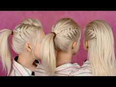 Back to school hairstyles for everyday: braided half updo and ponytail party hair tutorial - YouTube