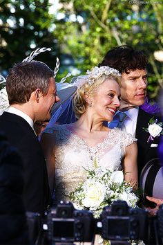 """It's as if Benedict is saying, """"give it up Amanda, I'm in this shot.""""  Sherlock, John, and Mary."""
