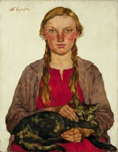 huariqueje:Girl with a Cat - Lotte Laserstein 1932-33Prussian Dutch Painter 1898-1993