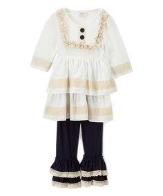 Ivory Lace Tier Tunic & Navy Ruffle Pants - Girls #zulily #zulilyfinds
