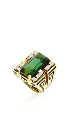 'TOURMALINE SCROLL Ring' - Rectangular-Cut Green Tourmaline (28.79 cts), Brilliant Cut Diamonds (0.27 cts), 18K Yellow Gold, Platinum & Black Enamel by DAVID WEBB 'SS16' for Preorder on Moda Operandi ♥≻★≺♥