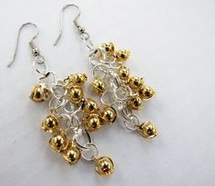 Gold and Silver Plated Jingle Bell Cluster dangle earrings by GypsyDreamerCafe, $17.50