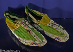 Authentic Sioux Indian Fully Beaded Man's Moccasins Circa 1885 |
