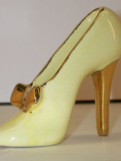 Vintage Ceramic Porcelain Stiletto High Heel by GarageSaleGlass, $15.99