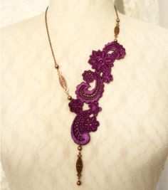 lace necklace ZELLA purple by tinaevarenee on Etsy, $39.00