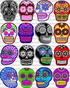 Day of the Dead Halloween 16 sugar skull stickers scrapbooking crafts set 3 Shrink Film, Shrink Art, Skull Template, Shrink Plastic Jewelry, Plastic Art, Plastic Film, Shrinky Dinks, Mexican Folk Art, Skull Art