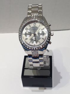 Ladies Caravelle New York white chronograph with crystals Breitling, Chronograph, York, Watches, Crystals, Lady, Accessories, Fashion, Moda
