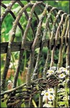 Spacing and form by Skelly turns a wattle fence from utilitarian into a work of art. Note the many angles represented through the use of cross-weaving and naturally bending branches. Click for a larger image