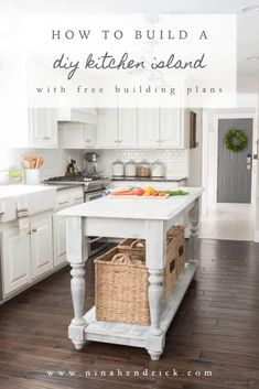 DIY Kitchen Island & Building Plans | Learn how to build this gorgeous furniture-style DIY kitchen island with this tutorial and free step-by-step building plans from Nina Hendrick Design Co.!