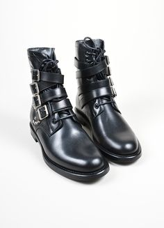 """Black and Silver Studded Buckle Saint Laurent """"Ranger"""" Ankle Boots"""