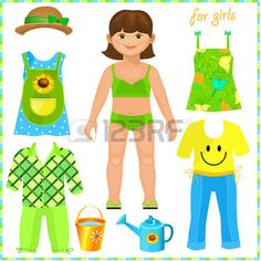 Paper doll with a set of clothes. Cute girl. Pretty gardener. Template for cutting. photo