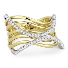 0.35ct Round Cut Diamond Pave Right-Hand Multi-Swirl Wrap Ring in 14k Yellow & White Gold - AlfredAndVincent.com
