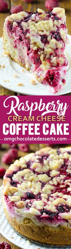 This raspberry cream cheese coffee cake is the only coffee cake recipe you will ever need. It's a delicious way to sneak a little fruit into everyone's favorite brunch. So easy to do! This raspberry cream cheese coffee cake is the only coffee Just Desserts, Delicious Desserts, Yummy Food, Holiday Desserts, Holiday Baking, Baking Recipes, Cake Recipes, Dessert Recipes, Baking Desserts