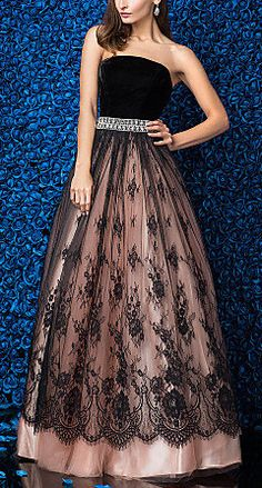 Ball Gown Strapless Floor-length Lace And Velvet Evening Dress