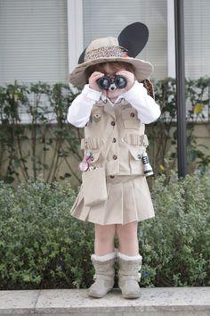Fantasia da Minnie Safari: charmosa e sofisticada Safari Outfits, Safari Dress, Kids Outfits, Safari Birthday Party, Jungle Party, Vestidos Safari, Minnie Safari, Safari Costume, Baby Costumes