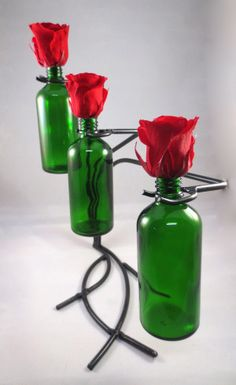 Wrought Iron vase with preserved rose in a bottle