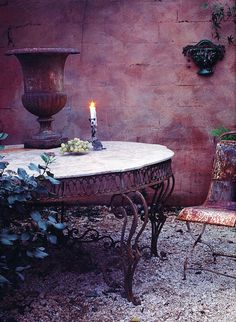 The old rusty table in the garden...