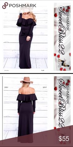 Pure Romance Maxi Dress -Black Coming Soon Fall in love with this dress! I most certainly did! This maxi dress features a solid color look, long sleeve, off shoulder design, smooth material, ruffle trim, Bust measures about 17 inches, Jumpsuit measures about 55 inches.  Also comes in Khaki  also!  ⭐️Content: - 88% polyester, 12% spandex Dresses Maxi