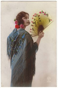 Antique hand tinted French postcard