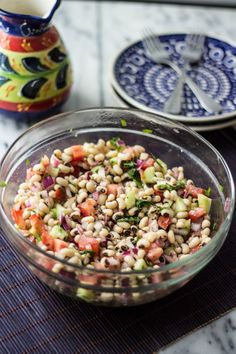 This delicious and colorful black-eyed pea salad is a great source of protein for vegans and vegetarians!
