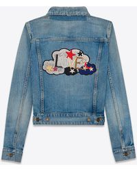 "Saint Laurent | Original ""love"" Jean Jacket In Light Blue Denim 