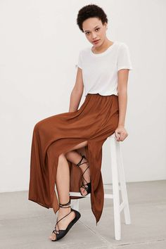 Silence + Noise Side-Slit Woven Maxi Skirt - Urban Outfitters
