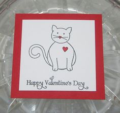 Childrens Valentines Cards Cat in Mini by LaurasPaperCreations