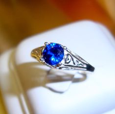 Ring Blue Sapphire filigree Ring ecofriendly by ApacheMoon on Etsy, $100.00