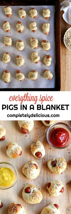 Everything Spice Pigs in a Blanket - Completely Delicious Good Food, Yummy Food, Tasty, But Football, Football Food, Appetizer Recipes, Appetizers, Pigs In A Blanket, Eat Seasonal