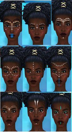 African Tribal Makeup, African Beauty, Black Girl Art, Black Women Art, African Face Paint, Warrior Makeup, Tribal Face Paints, Festival Makeup, Maquillage Halloween