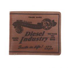 Portefeuille italien Diesel en cuir marron