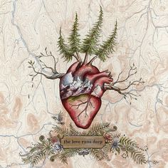 The Love Runs Deep Heart art on topo map 8 x 10 by KatieJeanneReim