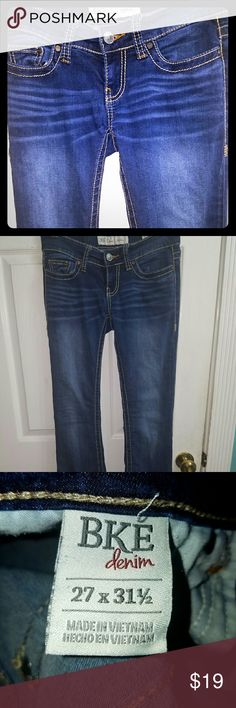 BKE Stella jeans,  27 X 31 1/2- (27R)- $75 new! BKE denim Stella jeans- low-rise, 27 X 31 1/2-  (27R) slimming through the hip and the thigh, have some stretch and are premium denim, not skinny or straight jeans, a little bit of a boot cut, but very understated, a dark wash with some wiskering, but nothing crazy,  you can dress them up or down, -  these are awesome jeans, that will last you for years, popular with teens and adults,  cost $75 new- really great deal! ??Bundle and save!! BKE…