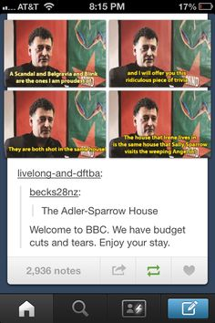 I didn't know this! Oh wow.<< Welcome to the BBC we only have seven sets:) <---- And one of the shows is on such a small budget (DW) its shot in a dudes eye (Benedict Cumberbatch) xD