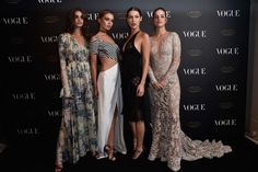 Taylor Hill, Stella Maxwell, Bella Hadid and Barbara Palvin attend the Vogue 95th Anniversary Party on October 3, 2015 in Paris, France.