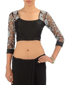Black Blouse with Grey Floral Embroidery - Buy The Guests Online | Exclusively.in $99