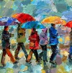 Contemporary Artists of Texas: Rain Umbrella Colorful Rainy Figurative Scene Art Painting by Texas Artist Debra Hurd Rain Painting, Autumn Painting, Figure Painting, Paintings I Love, Colorful Paintings, Acrylic Paintings, Rain Art, Umbrella Art, Cityscape Art