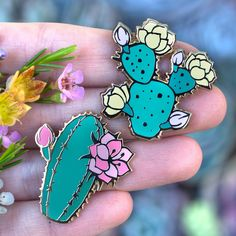 Blooming Cacti Enamel Pin Duo Set – Botanical Bright - Adding a 'Lil Beauty to Your Everyday Pineau Des Charentes, Flower Structure, Symbols Of Strength, Jacket Pins, Weaving Art, Pin And Patches, Cute Pins, Pin Badges, Lapel Pins