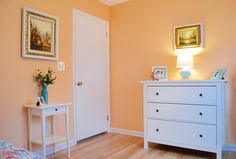 I am absolutely in love with this wall color, it reminds me of a ripe cantaloupe and brings to mind memories of springtime, and flowers. The art used on the walls were already in the client's house, and the colors were perfect for tying everything together. The only things we changed wer the colors of the frames. We painted them white to keep a clean, cohesive look.