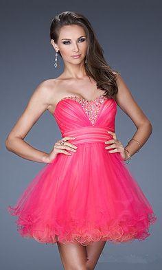Short Pink Beaded Ruffles Homecoming Dresses 2013